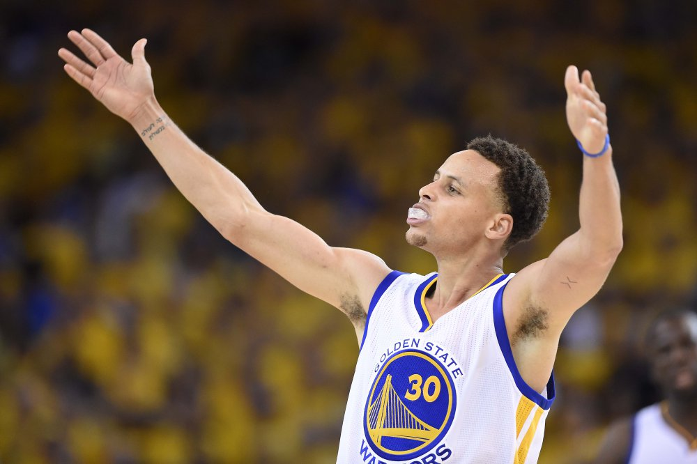 Jun 14, 2015; Oakland, CA, USA; Golden State Warriors guard Stephen Curry (30) reacts during the fourth quarter against the Cleveland Cavaliers in game five of the NBA Finals at Oracle Arena. Mandatory Credit: Bob Donnan-USA TODAY Sports