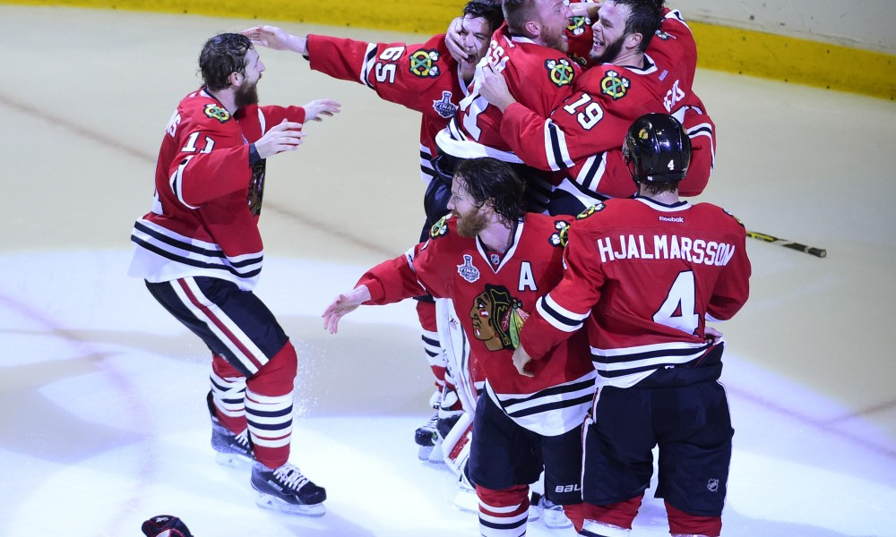 Jun 15, 2015; Chicago, IL, USA; The Chicago Blackhawks celebrate after defeating the Tampa Bay Lightning 2-1in game six of the 2015 Stanley Cup Final against the Tampa Bay Lightning at United Center. Mandatory Credit: David Banks-USA TODAY Sports ORG XMIT: USATSI-225748 ORIG FILE ID:  20150615_cja_bb6_052.JPG