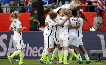 Jun 22, 2015; Edmonton, Alberta, CAN; United States forward Alex Morgan (13) celebrates a her goal with teammates during the second half against the Colombia in the round of sixteen in the FIFA 2015 women's World Cup soccer tournament at Commonwealth Stadium. Mandatory Credit: Michael Chow-USA TODAY Sports  ORG XMIT: USATSI-227746 ORIG FILE ID:  20150621_pjc_usa_433.JPG